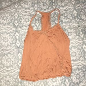 Orange lace tank